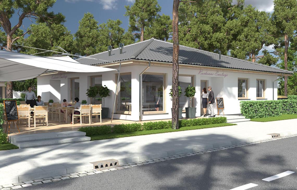 Projekt usługowy Bar Restauracja Kuchenne Ewolucje widok front 3