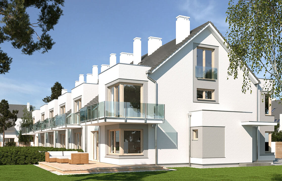 Projekt domu szeregowego-bliźniaczego Diana A,B i Diana Grande A,B widok ogród