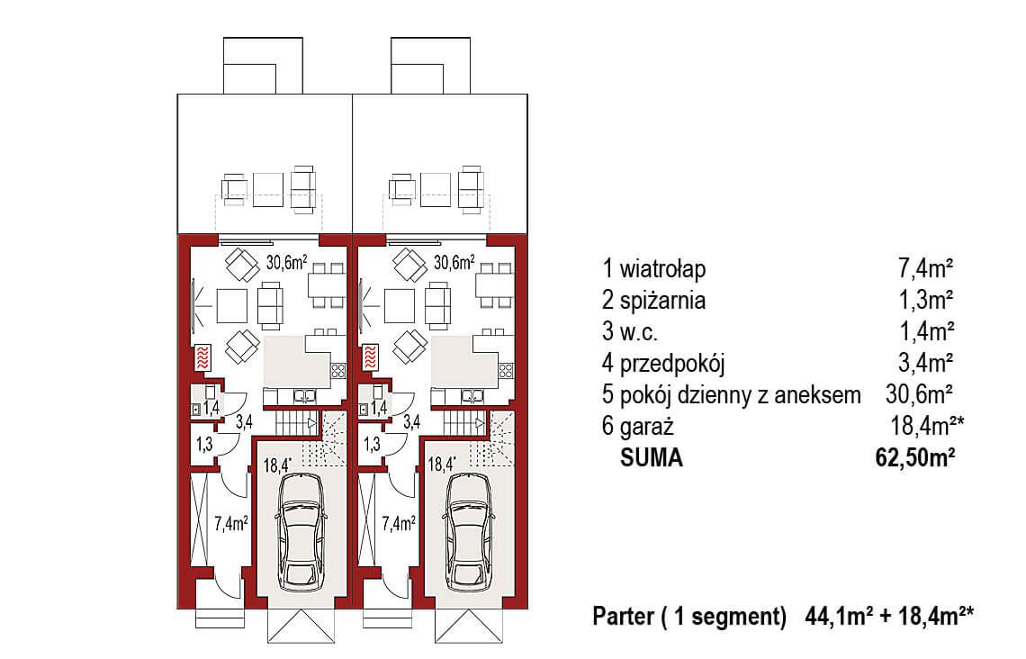 Projekt domu szeregowego, bliźniaczego Diana 2 blizniak rzut parter