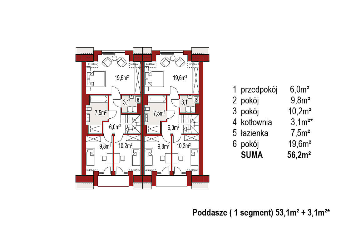 Projekt domu szeregowego, bliźniaczego Diana 2 blizniak rzut poddasze