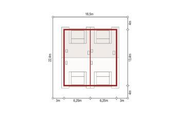 Projekt domu szeregowego, bliźniaczego Diana 2 blizniak sytuacja