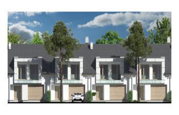 Projekt domu szeregowego, bliźniaczego Diana 2 - elewacja front