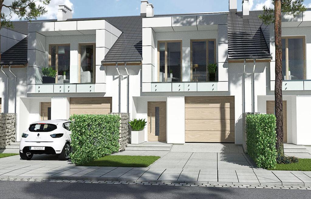 Projekt domu szeregowego, bliźniaczego Diana 2 widok front