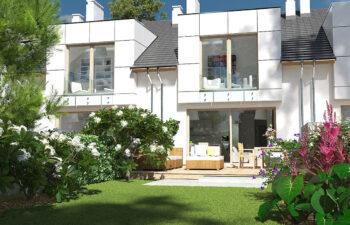 Projekt domu szeregowego, bliźniaczego Diana 2 widok ogród