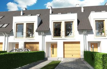 Projekt domu szeregowego-bliźniaczego Diana Grande A,B szereg widok front