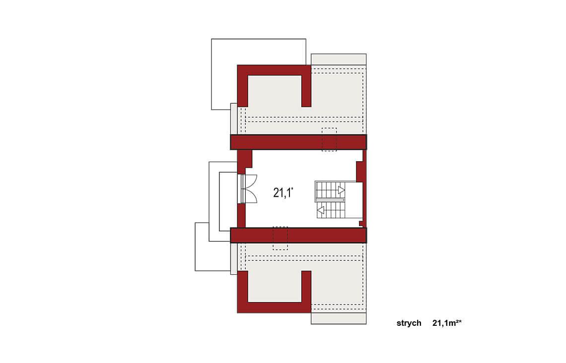 Projekt domu bliźniaczego Diana Grande A segment lewy rzut strychu