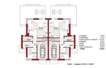 Projekt domu bliźniaczego Diana Grande A,B rzut parteru