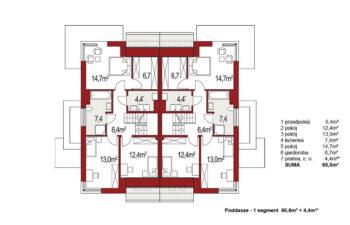 Projekt domu bliźniaczego Diana Grande A,B rzut poddasza