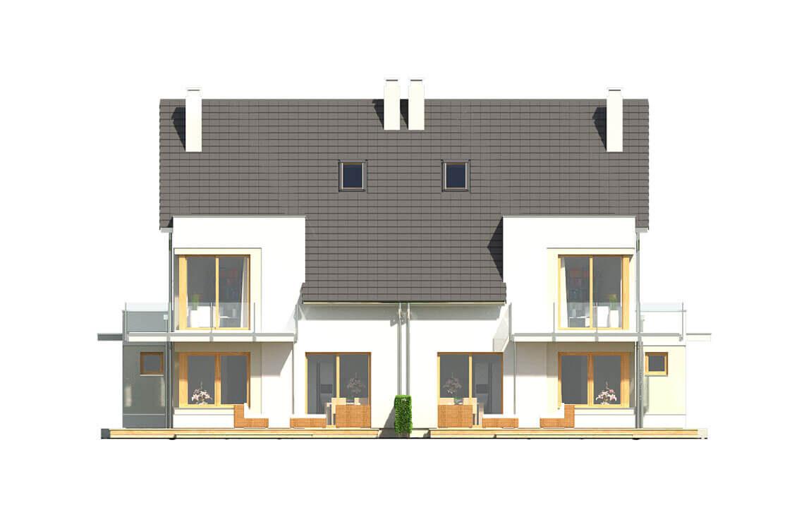 Projekt domu bliźniaczego Diana Grande A,B elewacja ogród