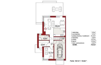 Projekt domu bliźniaczego Diana Grande A,B segment lewy rzut parteru