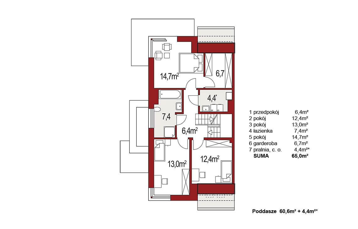 Projekt domu bliźniaczego Diana Grande A,B segment lewy rzut poddasza