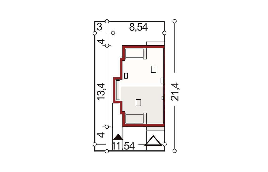 Projekt domu bliźniaczego Diana Grande A,B segment lewy sytuacja