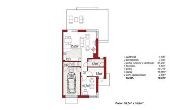 Projekt domu bliźniaczego Diana Grande A,B segment prawy rzut parter