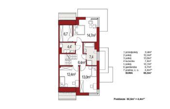 Projekt domu bliźniaczego Diana Grande A,B segment prawy rzut poddasza