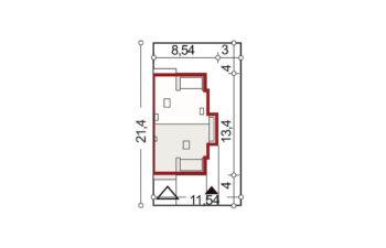 Projekt domu bliźniaczego Diana Grande A,B segment prawy sytuacja