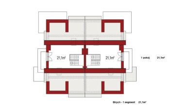 Projekt domu bliźniaczego Diana Grande B bliźniak rzut strychu