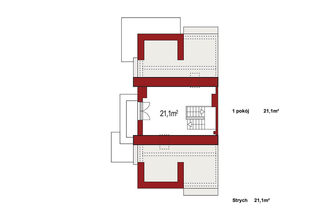 Projekt domu szeregowego-bliźniaczego Diana Grande B segment lewy rzut strychu