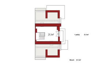 Projekt domu bliźniaczego Diana Grande A segment prawy rzut strychu