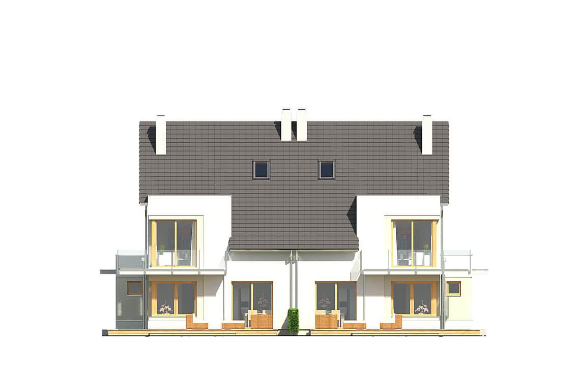 Projekt domu bliźniaczego Diana Grande A,B bliźniak elewacja ogród
