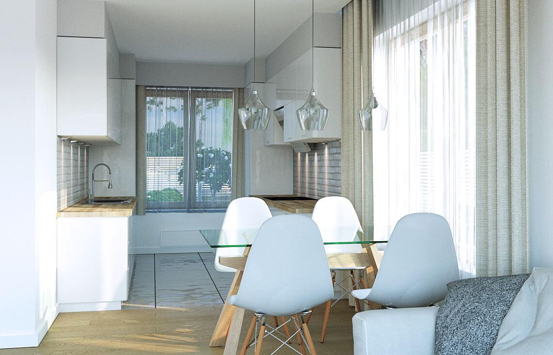 Projekt domu jednorodzinnego Dom dla Młodych Lux wnętrze kuchnia jadalnia