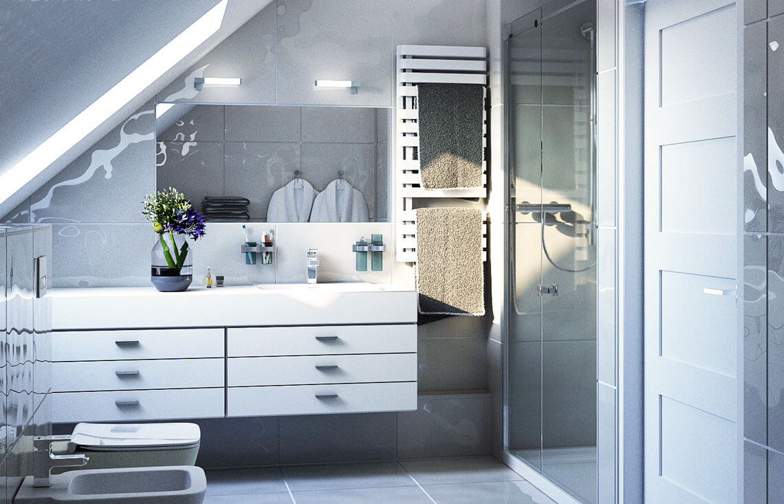 Projekt domu jednorodzinnego Dom dla Młodych Lux wnętrze łazienka