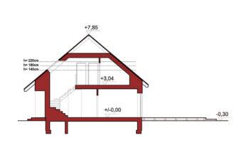 Projekt domu jednorodzinnego Dom dla Młodych Lux przekrój