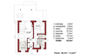 Projekt domu jednorodzinnego Dom dla Młodych Lux rzut parter