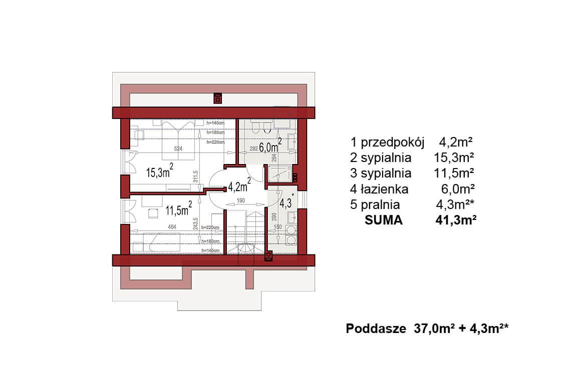 Projekt domu jednorodzinnego Dom dla Młodych Lux rzut poddasza