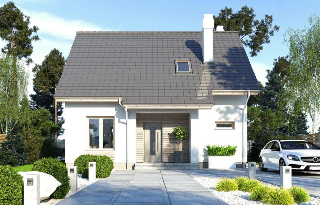 Projekt domu jednorodzinnego Dom dla Młodych Lux widok front