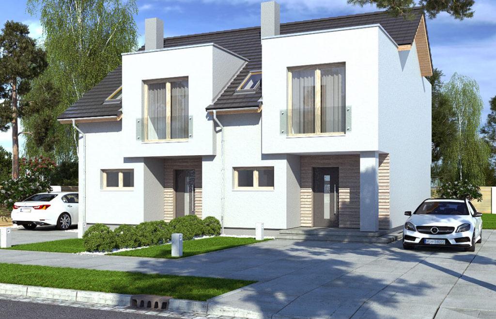 Projekt domu szeregowego-bliźniaczego Iskra bliźniak B widok front