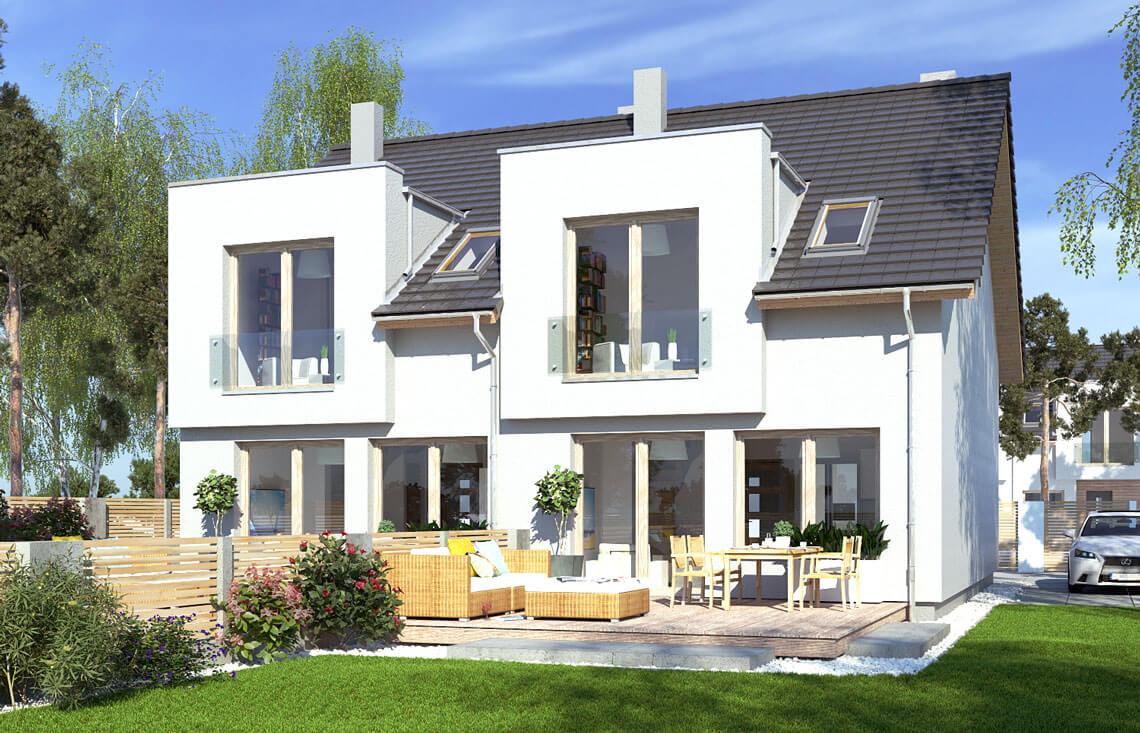 Projekt domu szeregowego-bliźniaczego Iskra bliźniak B widok ogród