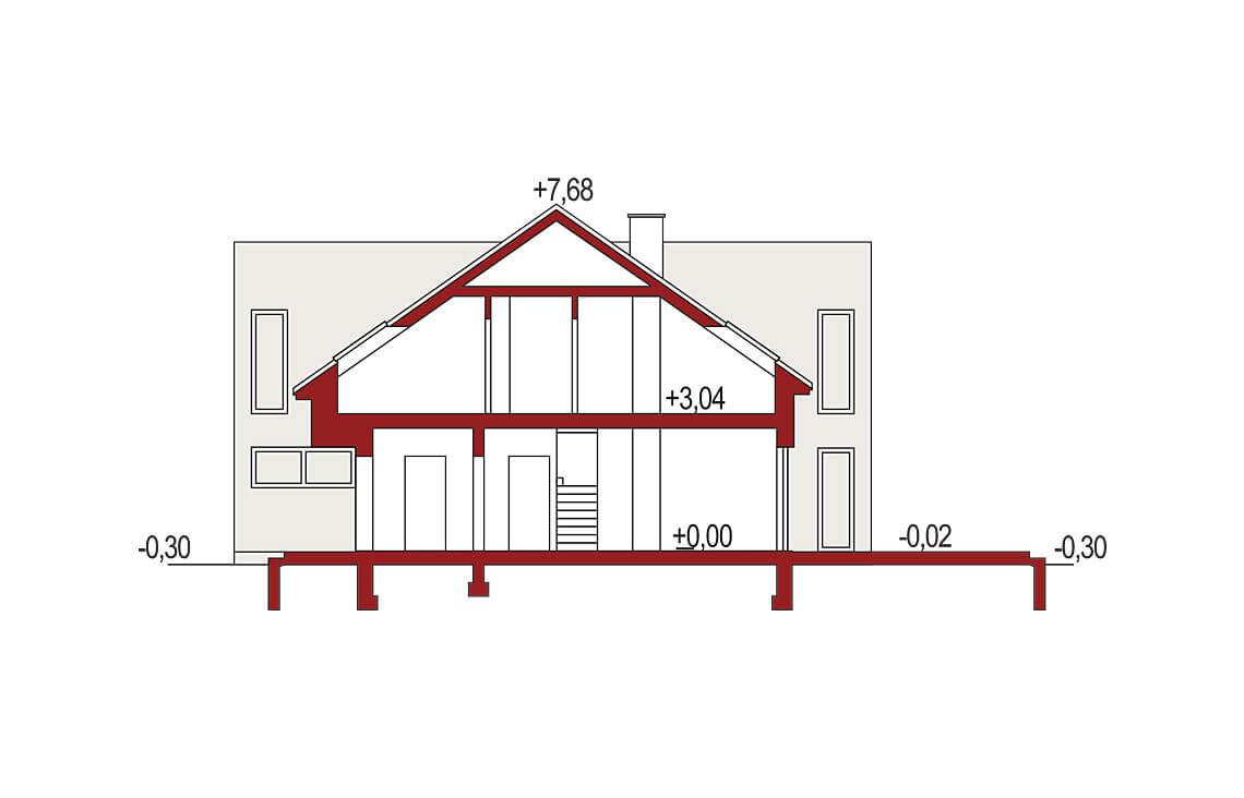 Projekt domu szeregowego-bliźniaczego Adam segment przekrój