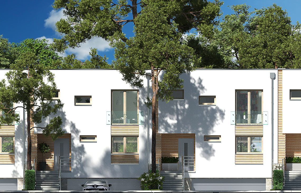 Projekt domu szeregowego, bliźniaczego Ania A elewacja frontowa