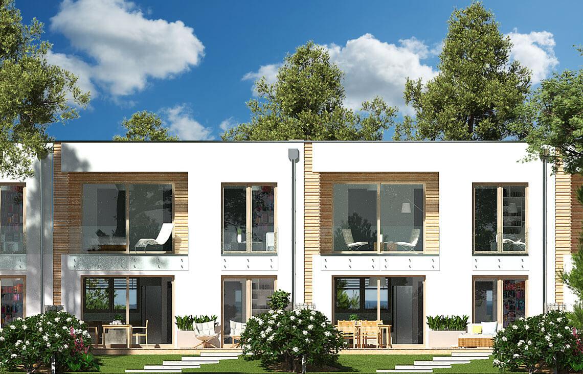 Projekt domu szeregowego, bliźniaczego Ania A elewacja ogrodowa