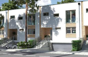 Projekt domu szeregowego, bliźniaczego Ania A widok od frontu