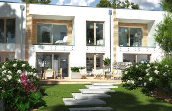 Projekt domu szeregowego, bliźniaczego Ania A widok od ogrodu 1