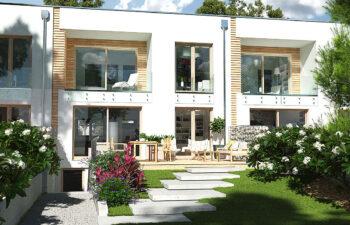 Projekt domu szeregowego, bliźniaczego Ania A widok od ogrodu 2