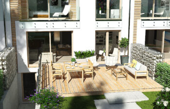 Projekt domu szeregowego, bliźniaczego Ania A widok od ogrodu 4