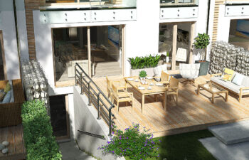 Projekt domu szeregowego, bliźniaczego Ania A widok od ogrodu 3