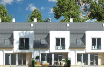 Projekt domu szeregowego, bliźniaczego Andrea segment środkowy elewacja ogród