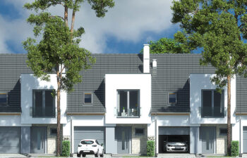 Projekt domu szeregowego, bliźniaczego Andrea segment środkowy elewacja front