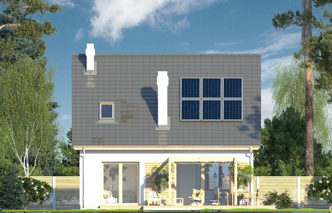 Projekt domu jednorodzinnego Dom dla Młodych Lux elewacja ogród