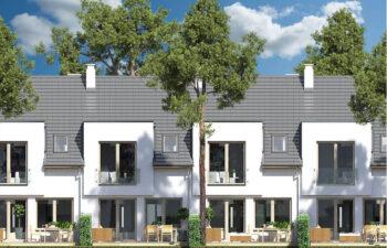 Projekt domu szeregowego-bliźniaczego Iskra elewacja ogród