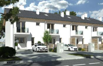 Projekt domu szeregowego-bliźniaczego Elena A 4 segmenty widok front