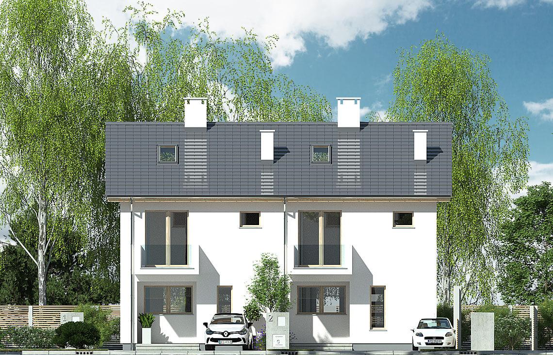 Projekt domu bliźniaczego Elena A bliźniak front elewacja