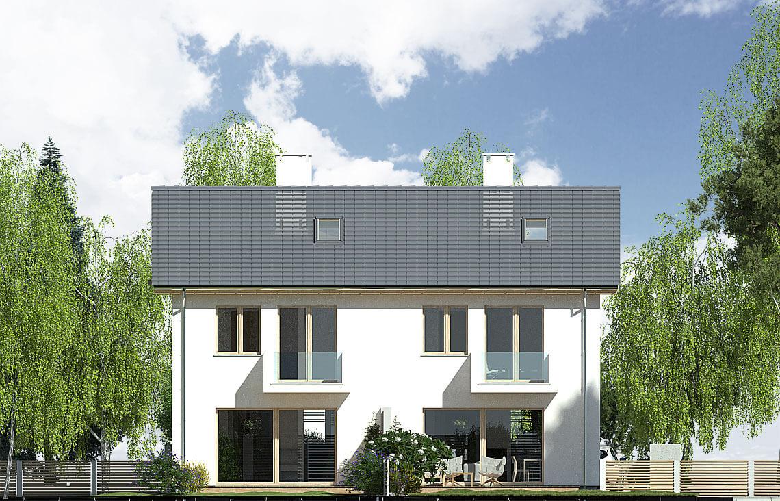 Projekt domu bliźniaczego Elena A bliźniak elewacja ogród