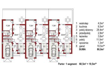 Projekt domu bliźniaczego Adam 3 segmenty rzut parter