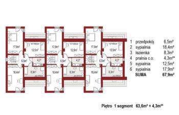Projekt domu bliźniaczego Adam 3 segmenty rzut piętro