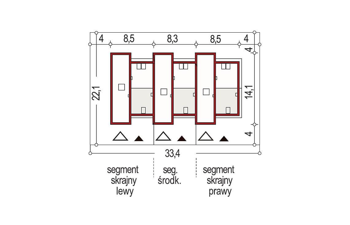 Projekt domu bliźniaczego Adam 3 segmenty sytuacja