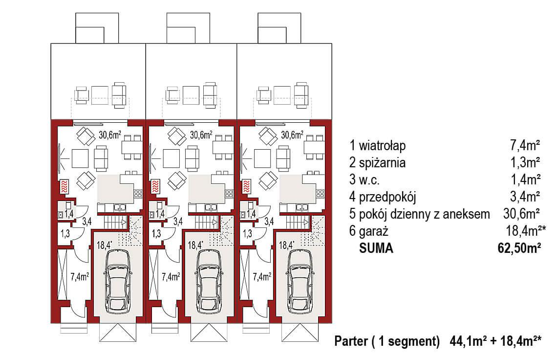Projekt domu szeregowego, bliźniaczego Diana 2 zestaw 3 segmenty rzut parteru